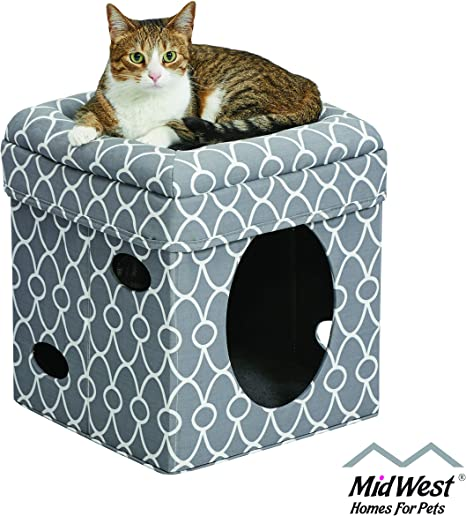 Toy Cat Kitten Play House Pet Bed Scratcher Post Folds Condo Furniture Cube