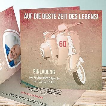 Einladungen Geburtstag 60 Zum Selbstgestalten Vespa 110 Karten