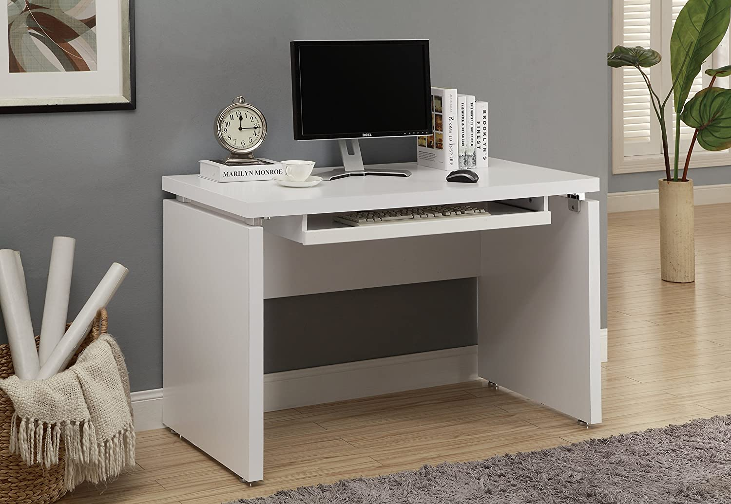 Amazon Com Monarch Computer Desk Inch White Kitchen Dining