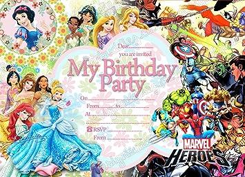 Disney Princess Super Hero Kids Birthday Party Invitations Pack 10
