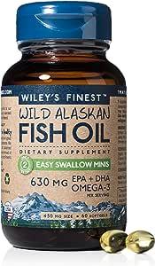 Wild Alaskan Omega-3 Fish Oil - Easy Swallow Minis 630mg EPA + DHA Natural Supplement 60 Mini Softgels