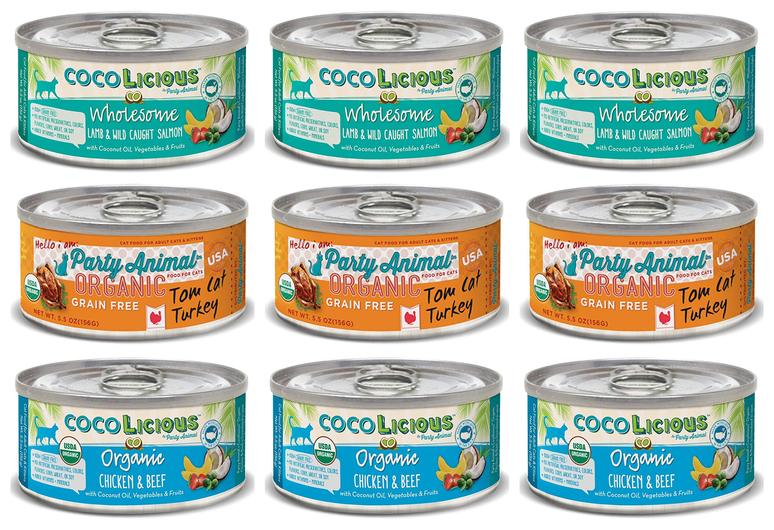 Party Animal Grain Free Cat Food Pate in 3 Flavors: (3) Organic Chicken & Beef, (3) Lamb & Wild Caught Salmon, and (3) Organic Tom Cat Turkey (9 Cans Total, 5.5 Ounces Each)