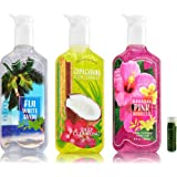 Bath & Body Works Deep Cleansing Hand Soap BY THE SEA Variety Pack - Copacabana Coconut, Fiji White Sands & Hawaiian Pink Hibiscus - Pack of 3 With a Jarosa Bee Organic Peppermint Lip Balm