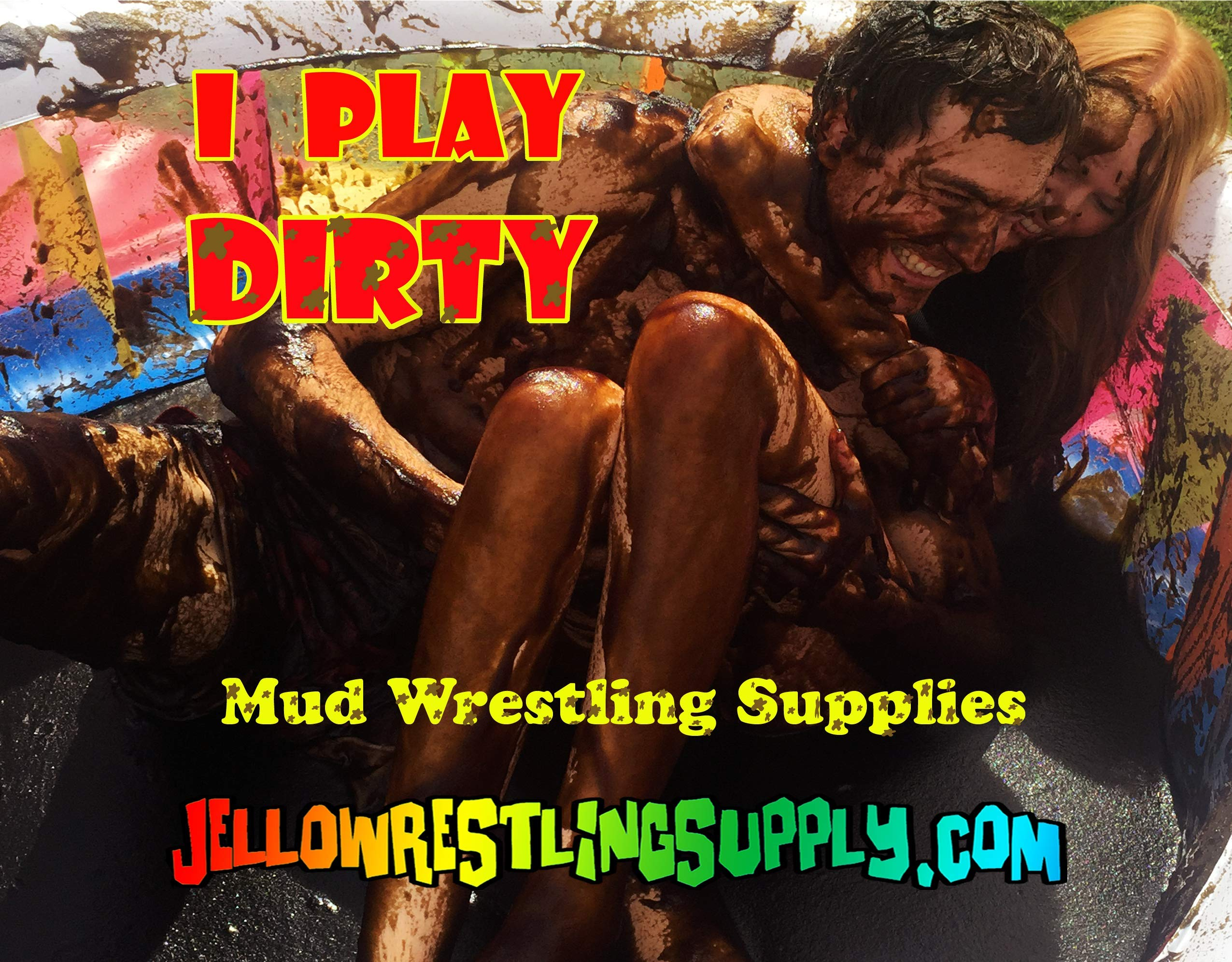 INSTANT MUD for Wrestling, Mud Pies, Balloons & Bombs JUST ADD WATER Bulk Mud powder makes 60 GALLONS of fake mud. Safe, clean mud run obstacle pits, pitch burst, Slime sludge messy kit oil tar by JelloWrestlingSupply.com (Image #3)