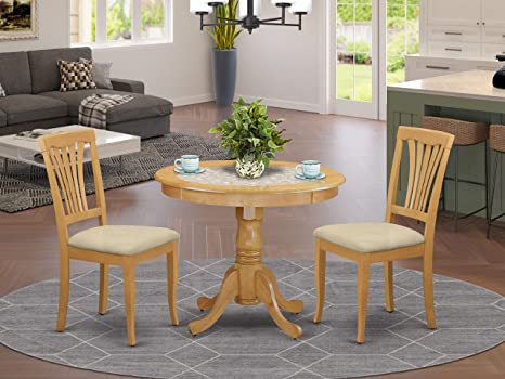 Amazon Com East West Furniture Anav3 Oak C Modern Dining Table Set 2 Fantastic Room Chairs A Beautiful Kitchen Linen Fabric Seat And Finnish Decor
