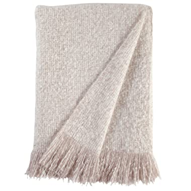 Stone & Beam Oversized Stripe Brushed Weave Throw Blanket, 60 x 80 , Blush, White