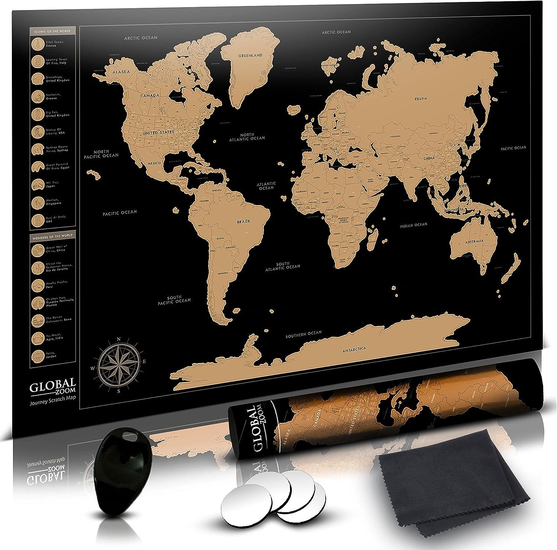 Mundial Zoom rascar Mapa del mundo con nosotros states-track las ...