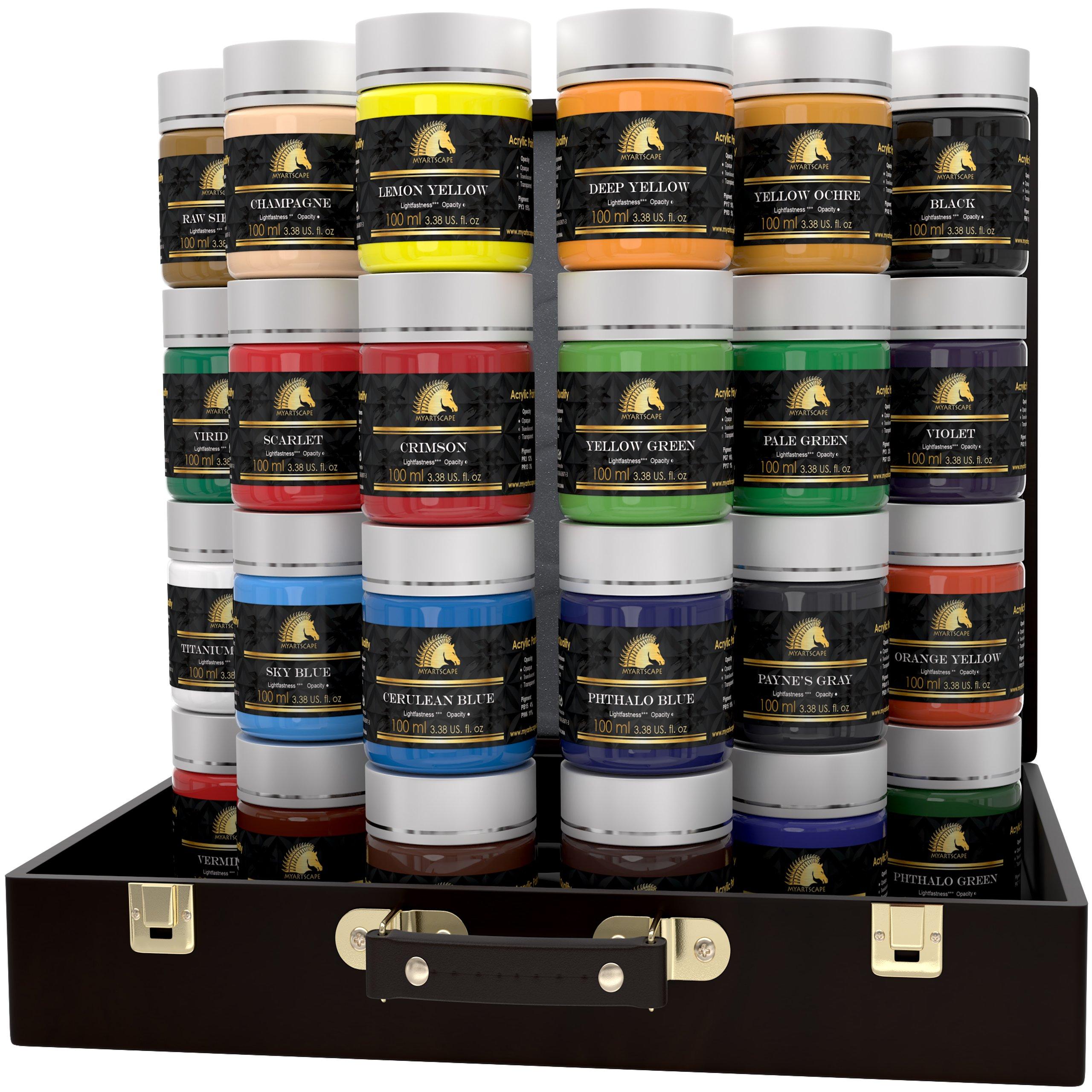 Acrylic Paint Set - 24 x 100ml Bottles - Heavy Body - Lightfast Paints - Artist Quality - MyArtscape by MyArtscape