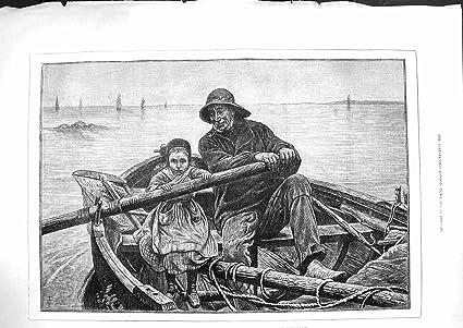 1881 First Hand Oar Little Girl Rowing Boat Man Pipe: Amazon ca