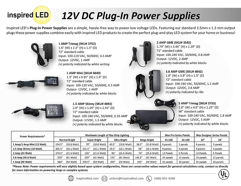 Amazon.com: 12V 3.8 Amp Power Supply from Inspired LED, Level VI ...