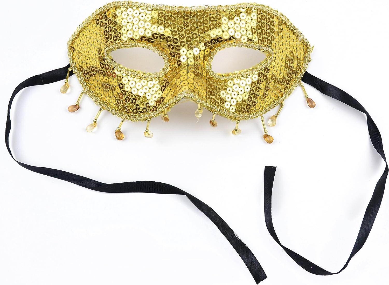 Gold Sequin /& Black Glitter Mask