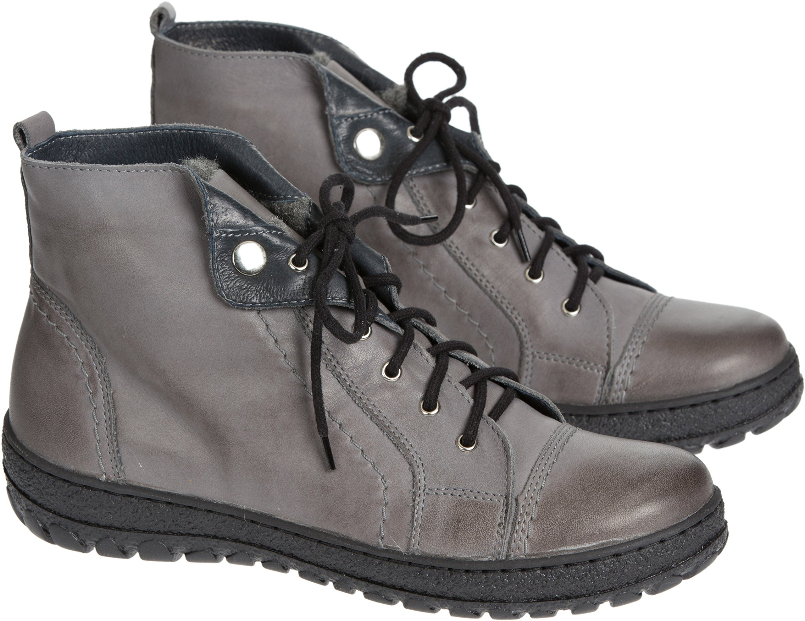 Women's Overland Tucker Wool-Lined Leather Ankle Boots, GREY, Size EU38