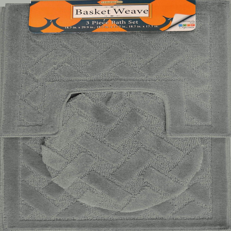 Home Dynamix Basketweave Orchard Bath Mat Set, 3 Piece, Olive