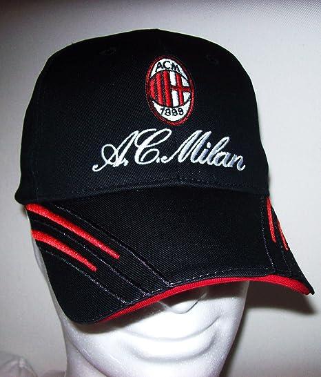 CAPPELLO CAPPELLINO A.C.MILAN UFFICIALE BERRETTO CAP nero con VISIERA 699565cec80f