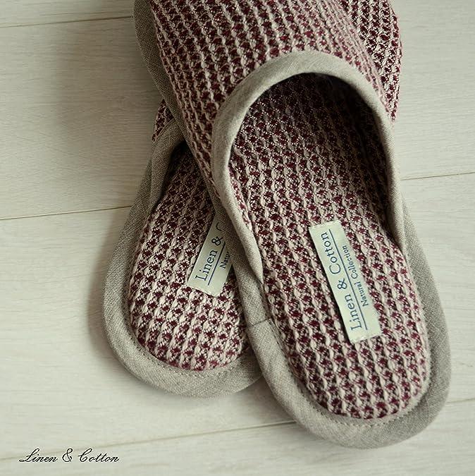Linen & Cotton Zapatillas Pantuflas de Estar por Casa TIGO para Mujer/ Hombre (Eur 43-44, Negro)