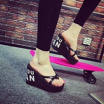 XIAMUO Super high-heeled Flip-Flops im Sommer mit einem dicken Plattform Keil mit wasserdichten Plattform Hausschuhe Sandalen 34 Krone 9 cm schwarz gummierte Unterseite Ort Haar