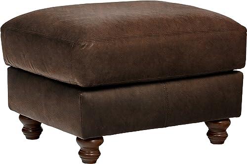 Amazon Brand Stone Beam Charles Classic Oversized Leather Ottoman, 31 W, Sod
