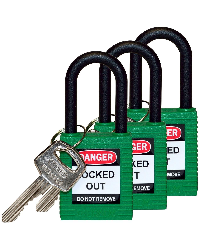 Green 1//4 Keyed Alike 1//4 Brady 123425 Lockout Padlock