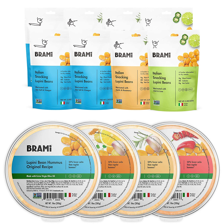BRAMI Lupini Beans Snack, Variety Pack 2.3oz (8 Pack) + BRAMI Lupini Bean Hummus, Variety 10oz (4 Pack) Bundle