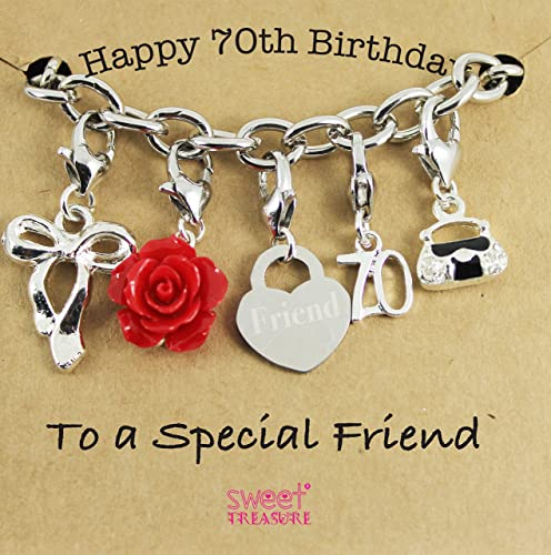 Happy 70th Birthday Charm Bracelet Gift For Special Friend