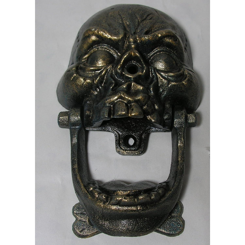 Gr Ausgefallener Tü rklopfer Totenkopf Gusseisen Antik Design Gothic Skull Horror