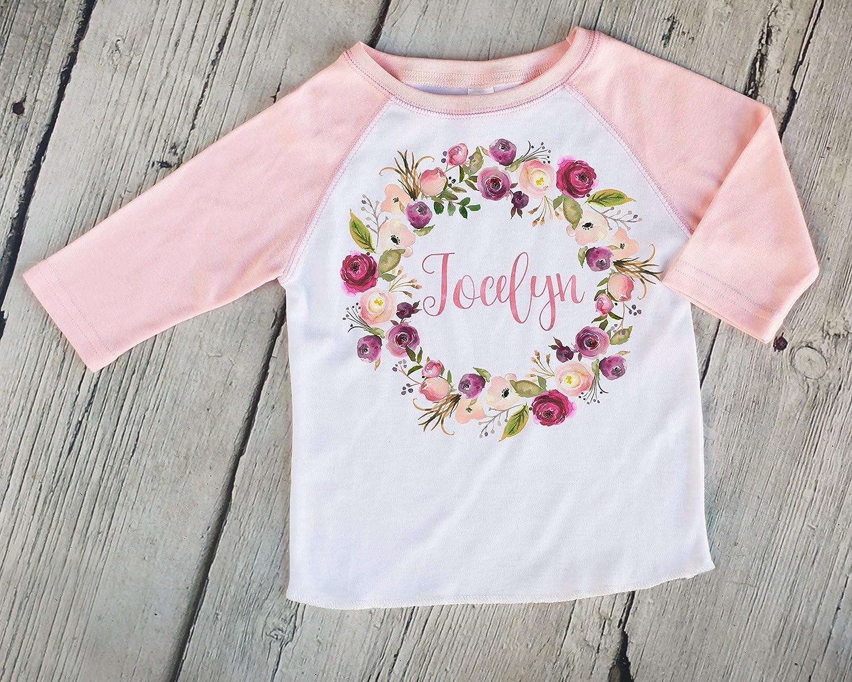 Amazon.com: Pink Wreath Personalized Girls Raglan Shirt - Customized Kids  Shirt Baseball Tee Boho Shirt Girl Name Tee: Handmade