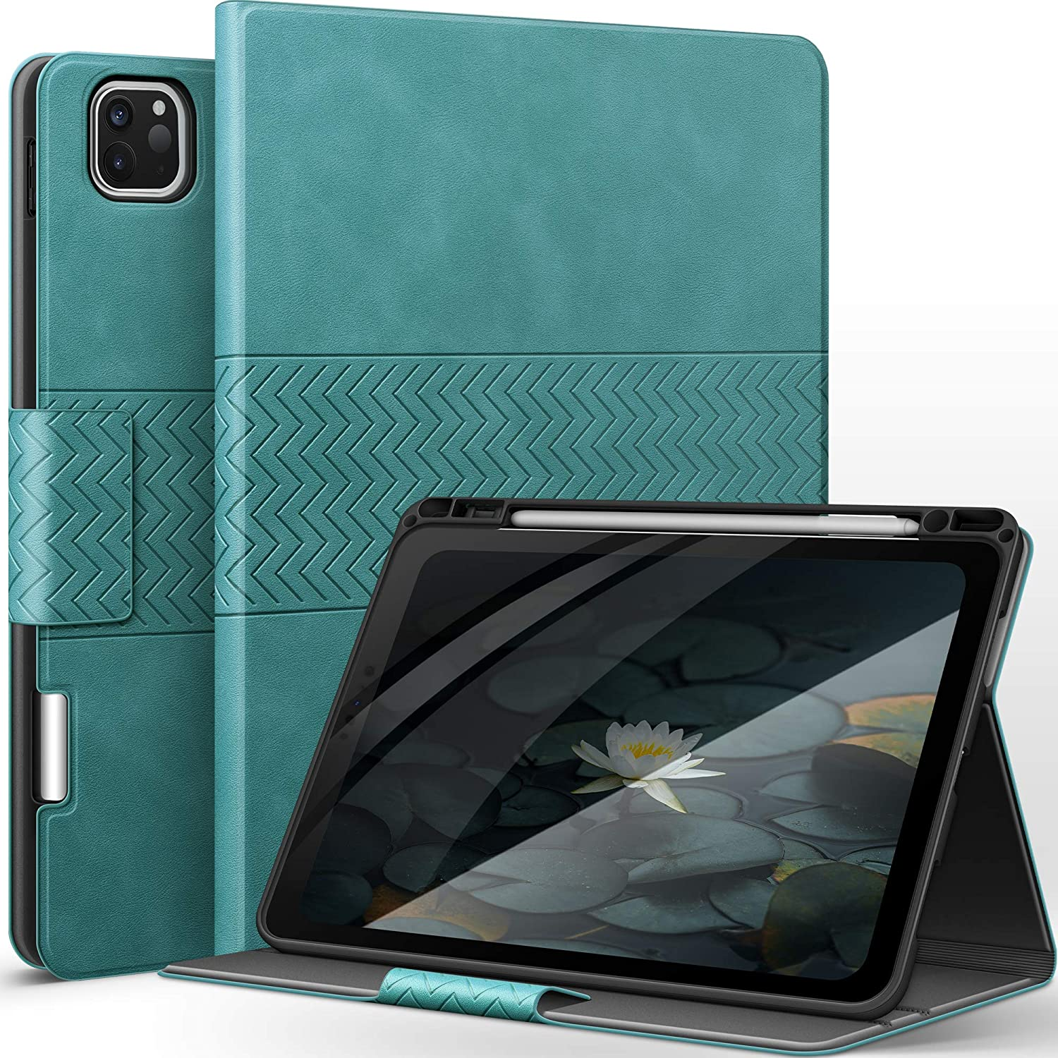 """Case for iPad Pro 11 2020/2018 with Pencil Holder Apple Pencil(2nd Gen) Wireless Charging/Pairing PU Leather Auto Sleep/Wake Smart Cover for iPad Pro 11"""" 2020/2018 (Green)"""