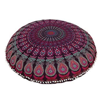 Amazon.com: Mandala de la India Cojín piso (redondo Otomano ...