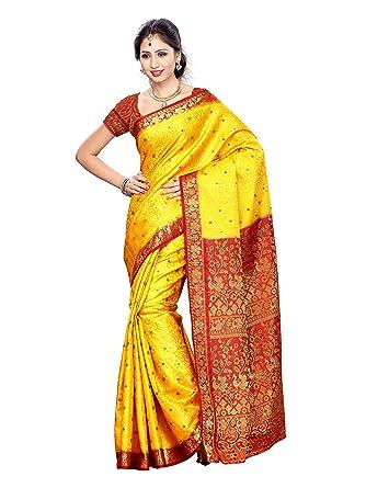 a8ff0b505b079d Mimosa Women's Art Silk Saree (87-Gold_Gold): Amazon.in: Clothing &  Accessories