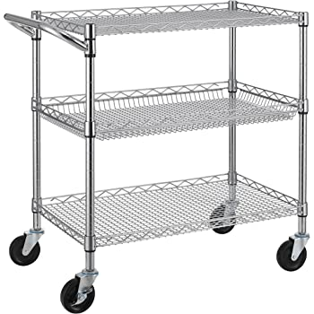 finnhomy 3 tier heavy duty commercial grade utility cart wire rolling cart with. Black Bedroom Furniture Sets. Home Design Ideas