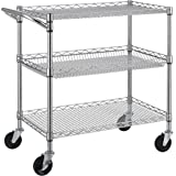 Finnhomy 3 Tier Heavy Duty Commercial Grade Utility Cart, Wire Rolling Cart with Handle Bar, Steel Service Cart with Wheels,