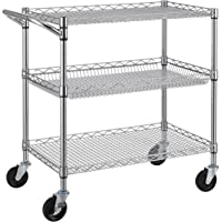 Finnhomy 3 Tier Heavy Duty Commercial Grade Utility Cart, Wire Rolling Cart with Handle Bar, Steel Service Cart with…