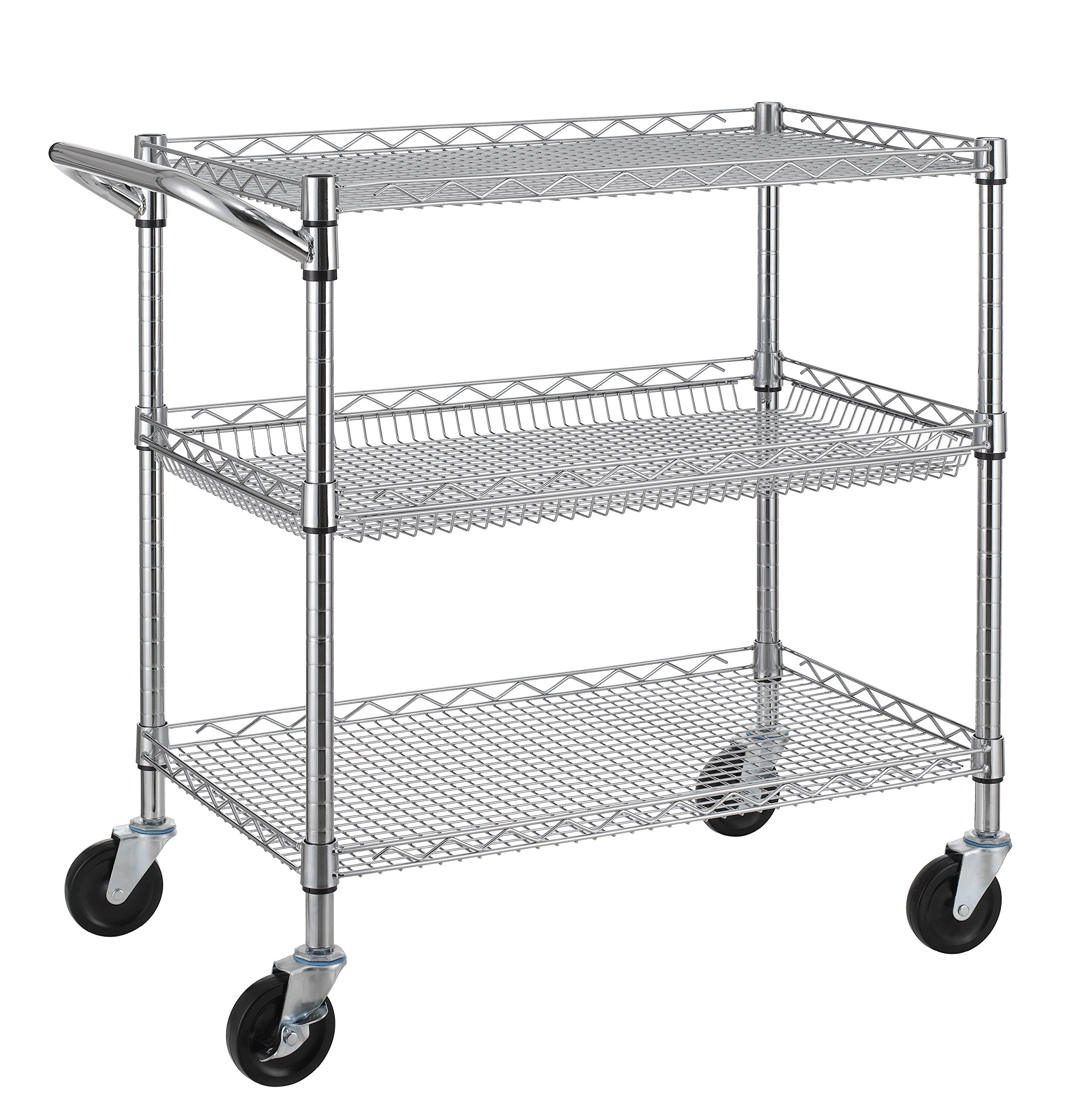 Finnhomy 3 Tier Heavy Duty Commercial Grade Utility Cart, Wire Rolling Cart with Handle Bar, Steel Service Cart with Wheels, Utility Shelf Plant Display Shelf Food Storage Trolley, NSF Listed by Finnhomy