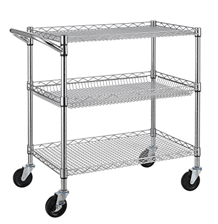 Finnhomy 3 Tier Heavy Duty Commercial Grade Utility Cart, Wire Rolling Cart  with Handle Bar, Steel Service Cart with Wheels, Utility Shelf Plant