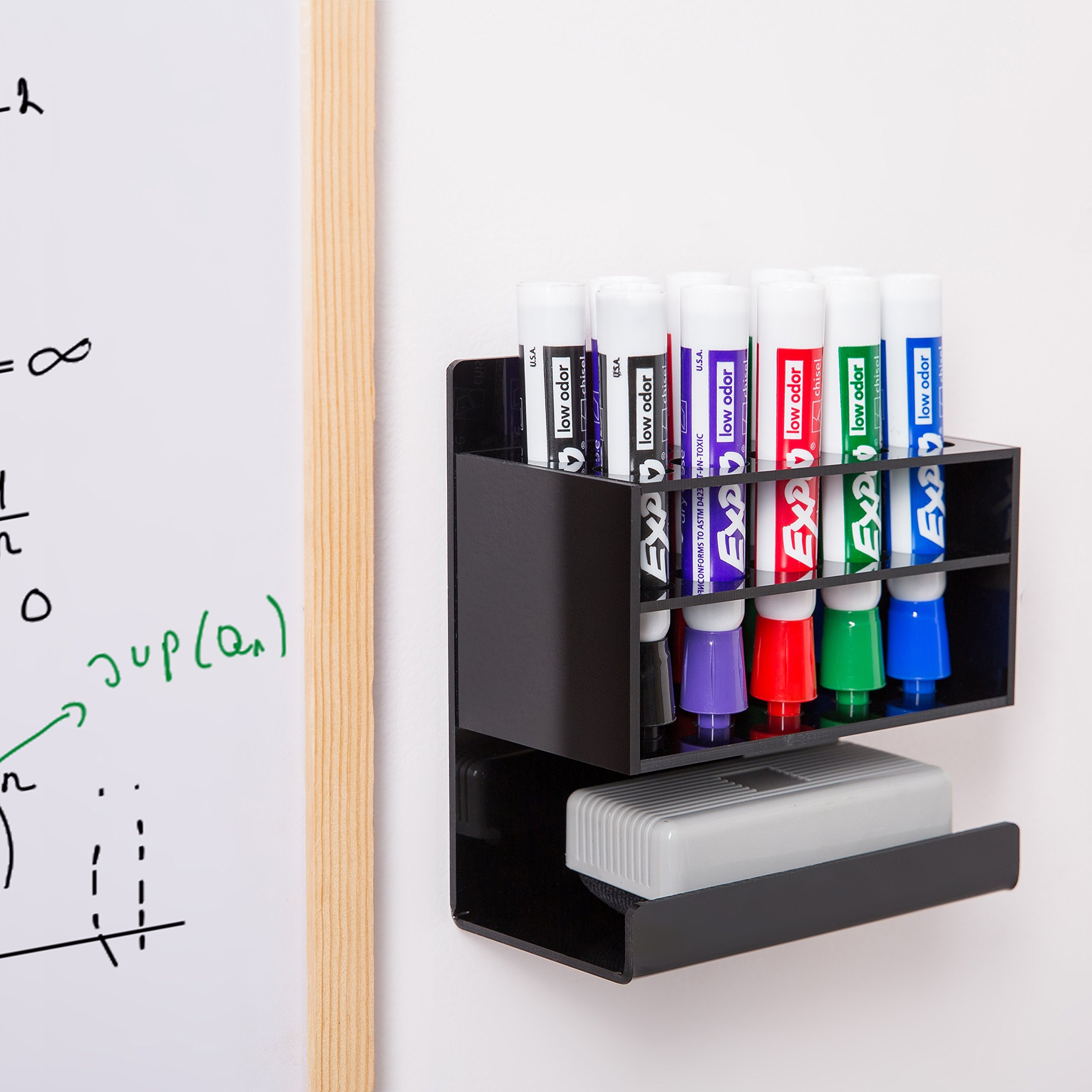 MyGift Wall-Mounted 2-Tier Black Acrylic 10-Slot Dry Erase Whiteboard Marker and Eraser Holder Stand by MyGift (Image #4)
