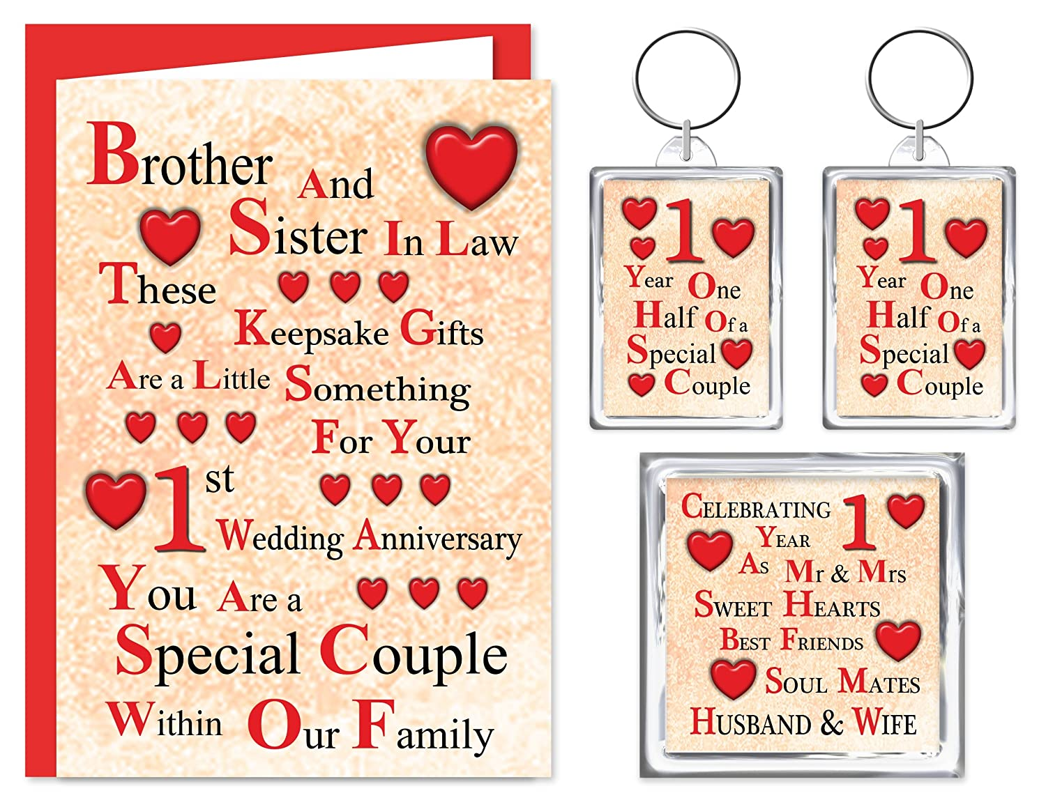 Brother Sister In Law 1st Wedding Anniversary Gift Set