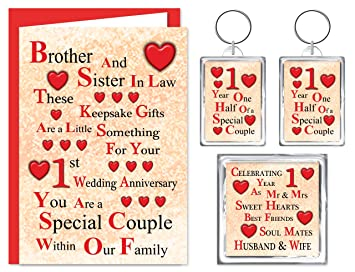 Brother Sister In Law 1st Wedding Anniversary Gift Set Card 2 Keyrings