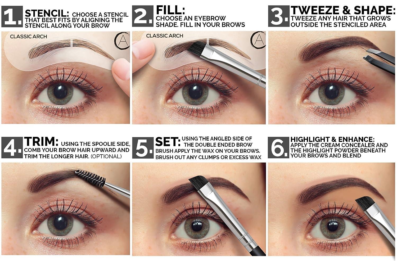 eyebrow powder. amazon.com : aesthetica cosmetics brow contour kit - 16-piece contouring eyebrow makeup palette includes powders, wax, stencils, spoolie/brush duo, powder