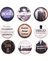 9 Mini Sherlock Button Badge Set (25mm) - MADE IN UK - by Button Zombie