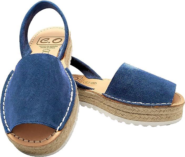 b7cee965ac1ce2 Espadrilles Platform Avarcas - Leather Sandals Women (Navy Blue Size 4)