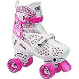 Roller Derby Girl's Trac Star Adjustable Roller Skate, White/Pink