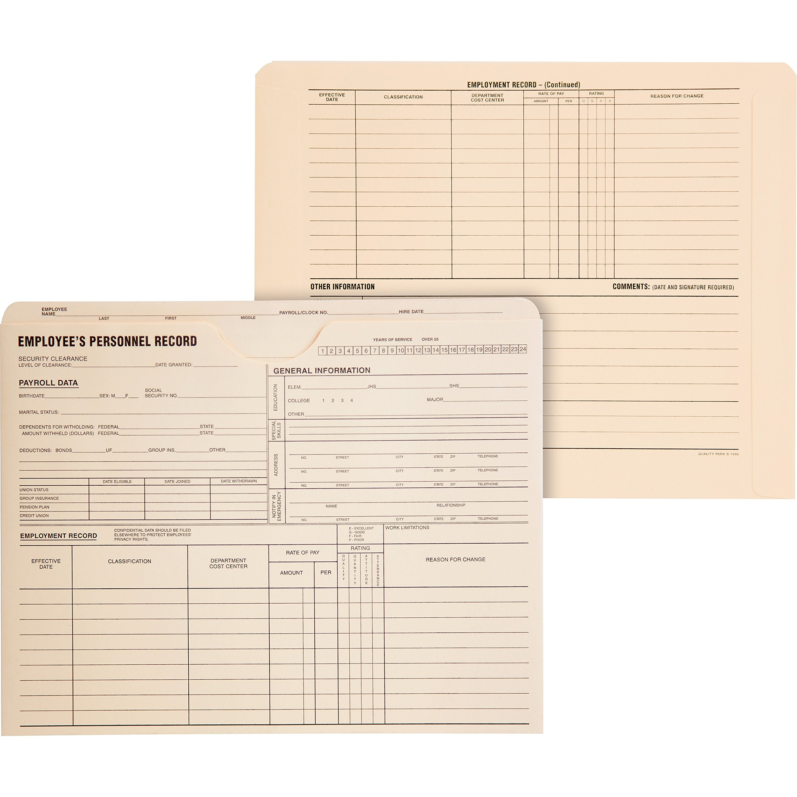 Quality Park Products 70010 Personnel Record Jacket, 1-1/2'' Exp, 9-1/2''x11-3/4, 25/BX