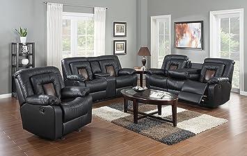 GTU Furniture Cobra Pu Leather Reclining Sofa Loveseat Recliner Set Luxurious Living Room