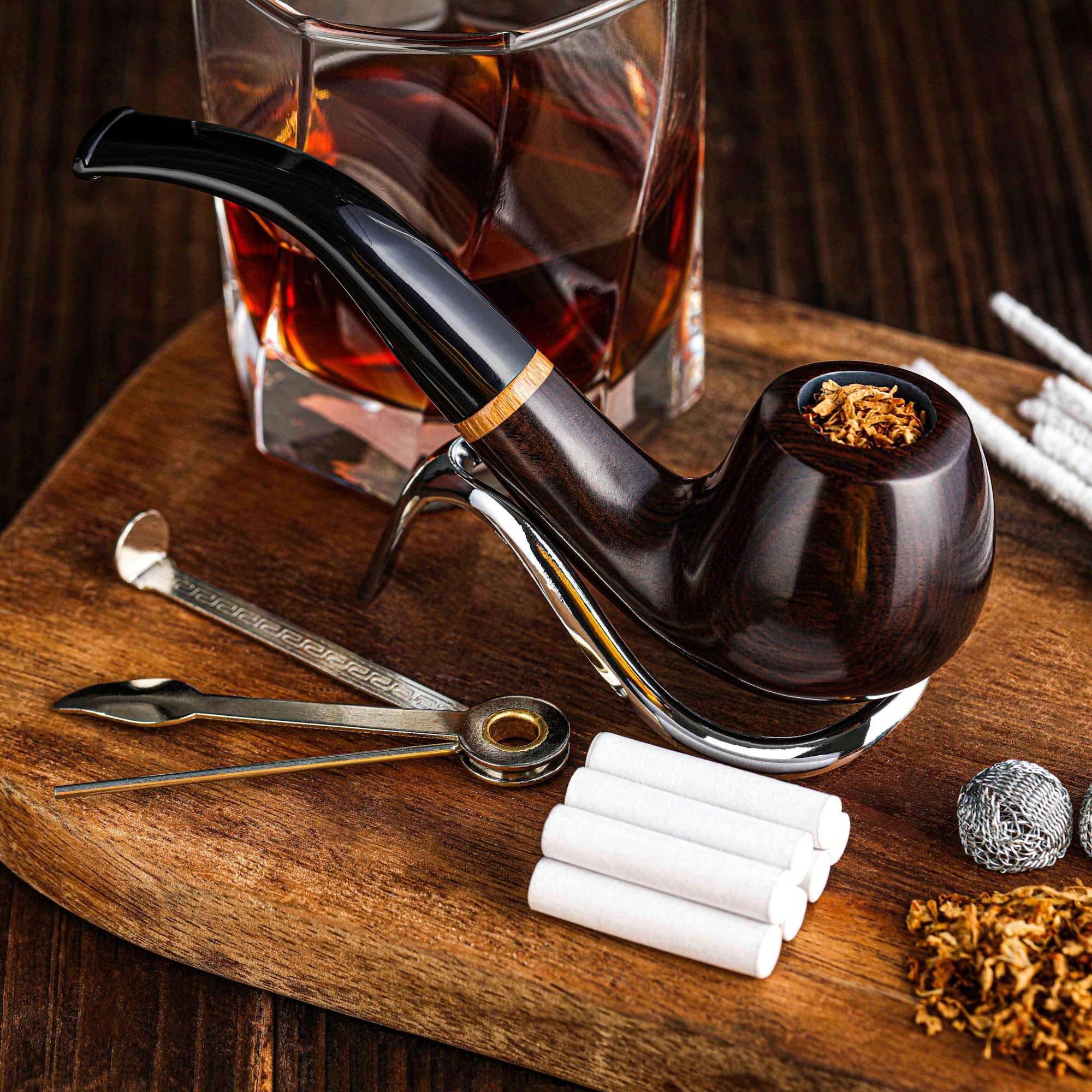 Whitluck's Tobacco Pipe, Handmade Wood Smoking Pipe, Perfect Beginner Pipe Kit for Smoking with Ultimate Guide E-Book, Gift Set and Accessories (Sunny Yellow)