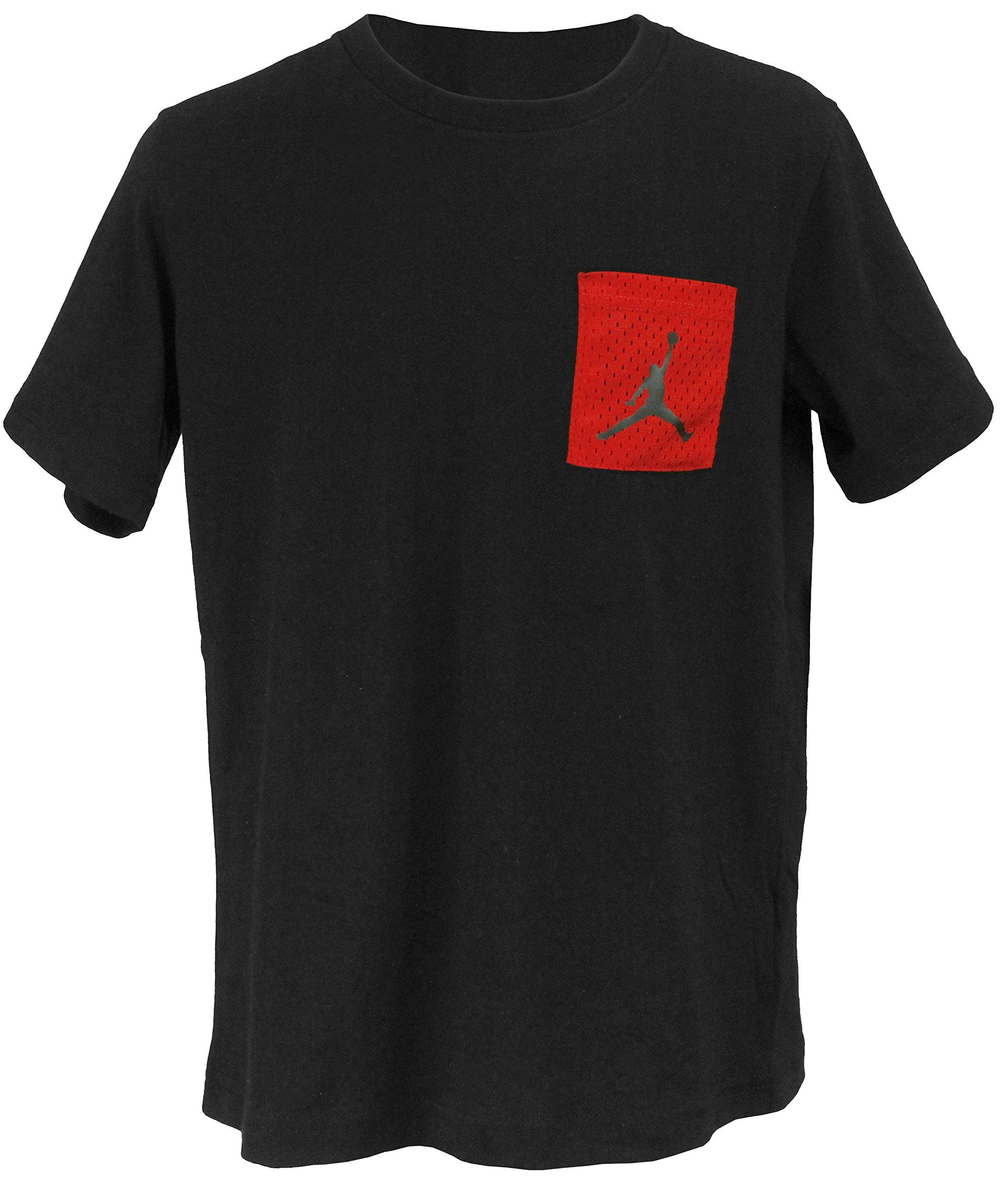 Jordan Nike Boy's Mesh Red Pocket T-Shirt - Black (X-Large)
