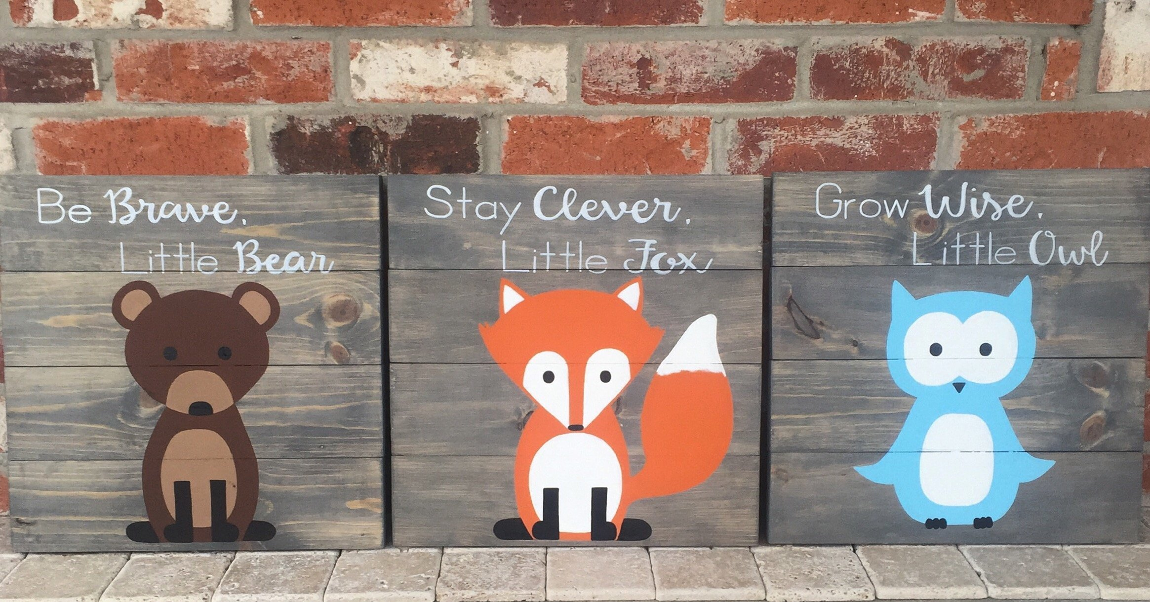 14x14 Set of 3 Woodland Animal Nursery Signs Nursery Decor Baby Shower Gift or Baby Decor Clever little fox