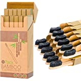 12 Individual Pack Premium Bamboo Toothbrush-All Natural Organic Waveform Toothbrushes with Charcoal Infused BPA Free Medium
