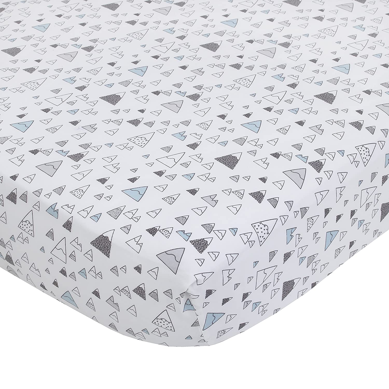 Dwell Studio Bear Hugs Cotton Super Soft Fitted Crib Sheet, Blue/Gray/White Mountains Crown Crafts Inc 2793003