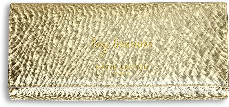 Katie Loxton Tiny Treasures Womens Vegan Leather Jewelry Roll Clutch Organizer in Metallic Gold