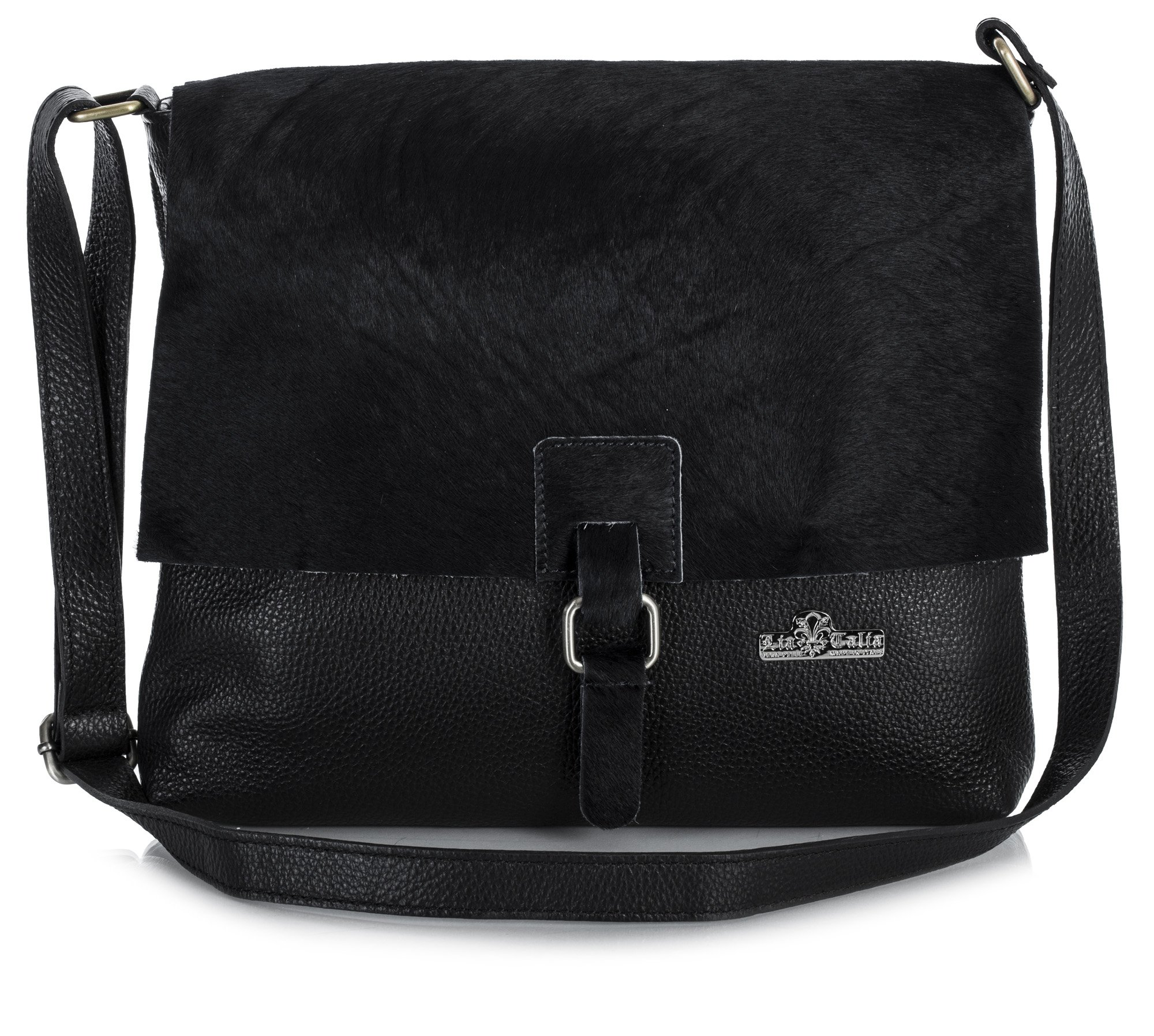 LiaTalia Genuine Italian Leather Buckle Effect Crossbody Messenger Bag With Protective Dust Bag - Kate (Black - Black)